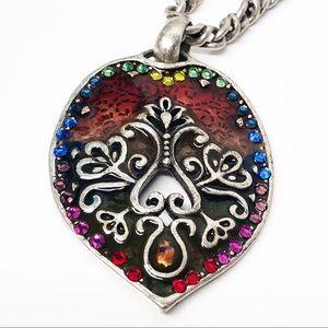 Chico's • Silver Rainbow Heart Shield Necklace